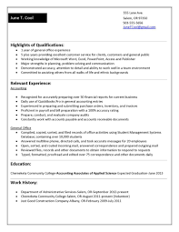 sample resume for college student with no work history