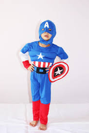 blue halloween costume royalblue 3 7years party kids comic marvel captain america muscle