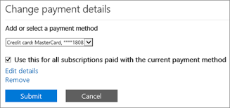 The Change payment details pane when a subscription is paid for by credit card or bank Office Support