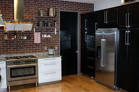 kitchen wonderful brick wall kitchen photos with black varnished