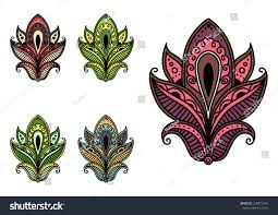 Indian Flower Design Colorful Persian Indian Flowers Stock Vector 258873434 Shutterstock