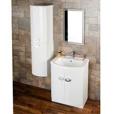 Modern Walnut Bathroom Vanity by Orion Modern Curved White Gloss Vanity Unit With Tall Side Cabinet