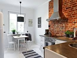 admirable modern interior of exposed brick wall kitchen feat stone