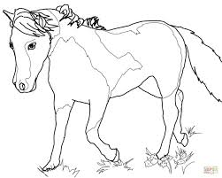 grazzing mare horse and filly coloring page free printable