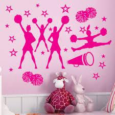 online get cheap cheerleading wall decor aliexpress com alibaba cheer cheering squad stars vinyl wall decor cheerleaders mural decal art vinyl cut home decor wall sticker kw 264