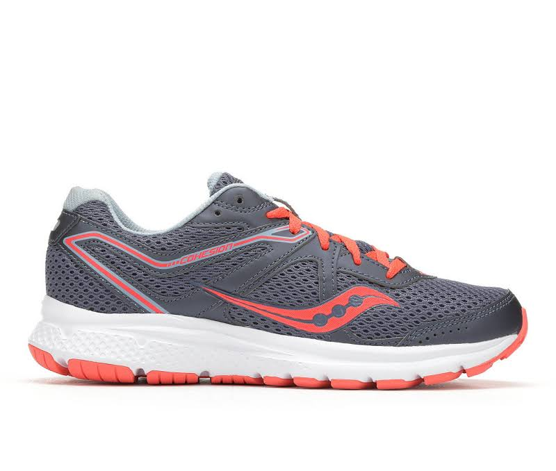 Saucony Grid Cohesion 11 Grey / Viz Red Ankle-High Mesh Running 5M