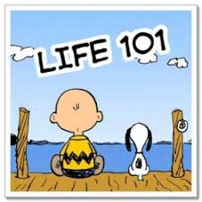 Charlie Brown and Snoopy from Peanuts comic, Life 101 in words overhead