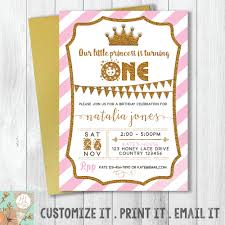 princess first birthday invitation card tiara birthday