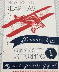 1st Year Baby Birthday Invitation Cards Airplane 1st Birthday Party Project Nursery