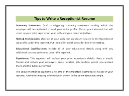 Sample Of Receptionist Resume by 19 Sample Of Objectives On A Resume Employment Agreement