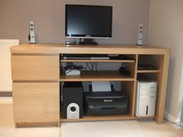 snazzy wood ikea computer desk with equipment storage unit idea
