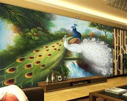 online buy wholesale peacock wall mural from china peacock wall beibehang custom wallpaper living room bedroom mural tide handmade sketch couple peacock tv background wall mural