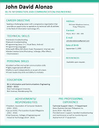 sample resume of teacher applicant sample resume format for fresh graduates one page format sample resume format for fresh graduates one page format 5