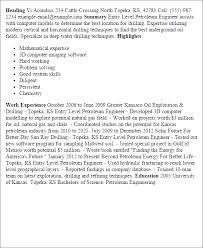 Petroleum Engineering Resume  engineer internship resume