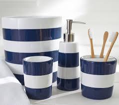 White Bathroom Accessories Set by Navy Stripe Bath Accessories Pottery Barn Kids