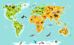 World Map Asia by World Map With Wildlife Animals Vector Illustration Animals