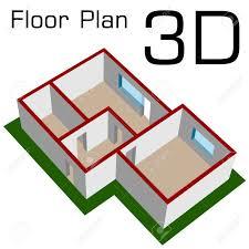 vector 3d empty house floor plan royalty free cliparts vectors