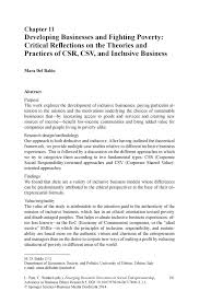 developing businesses and fighting poverty critical reflections