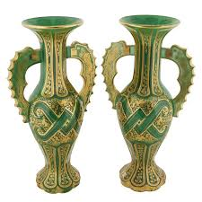 Decorative Glass Vases Magnificent Pair Of Bohemian Green Gilt And Clear Cut Glass Vases