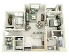Two Bedroom Apartment Floor Plans 2 Bedroom House Plans 3d Google Search House Plans Pinterest