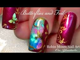 butterfly nails diy foiling nail art design tutorial with foil