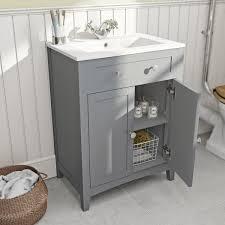 the bath co camberley satin grey vanity unit with basin 600mm