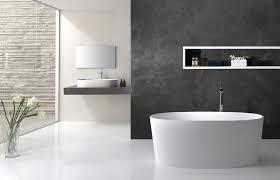 modern bathroom tiles curved wall mirror dark gray tile accent