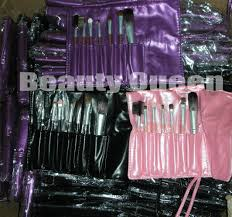 pro makeup brush set cosmetic brushes goat hair black pink