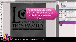 load and use ashe design styles in photoshop youtube