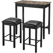 living set dorel living devyn 3 piece faux marble pub dining set black