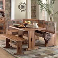 rustic small breakfast nook table set and chairs with bench seat