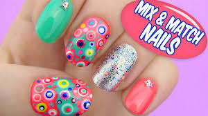 mix and match nails dotted nail art youtube