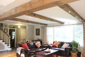 Exposed Beam Ceiling Living Room by Diy Reclaimed Barn Wood Beams 12 Oaks