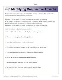 Identifying Conjunctive Adverbs   Conjunction Worksheets Identifying Conjunctive Adverbs Worksheet