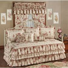 Black And White Daybed Bedding Sets Heirloom Rose Floral Ruffled Daybed Bedding Set