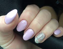 lavender pale purple pink gel nails silver glitter accent nail
