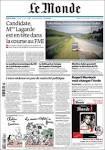 Newspaper Le Monde (France). Newspapers in France. Thursdays.