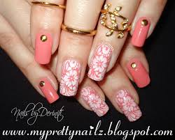 easy beginner peach spring summer flowers nail art stamping design