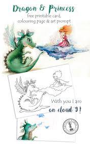 dragon u0026 princess free printable card colouring drawing