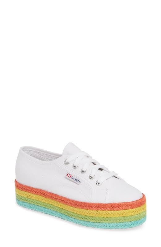 Superga 2790 Cotcoloropew White / Multi Ankle-High Canvas Sneaker 10.5M 8.5M