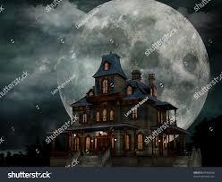 scary moon background haunted house creepy haunted house weathered stock illustration