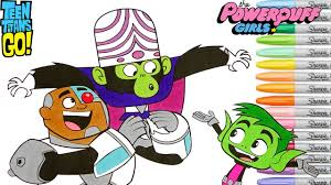 teen titans go coloring book pages beast boy cyborg powerpuff