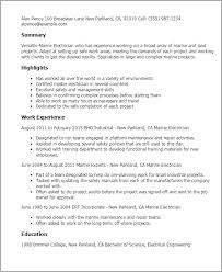 Journeyman Electrician Resume Sample by Professional Marine Electrician Templates To Showcase Your Talent