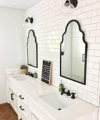 Bathroom Mirror Ideas On Wall Bright White Bathroom Double Vanity Tile Wall Bathroom
