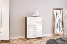 White Shiny Bedroom Furniture Birlea Lynx 5 Drawer Chest High Gloss Walnut And White Amazon