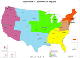 Map For United States by U S Department Of Labor Oasam Regional Map