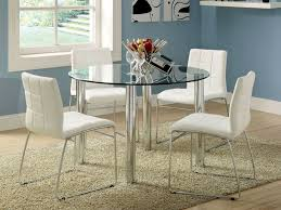 Black And White Dining Room Chairs Dining Room Marvelous Round Glass White Dining Table With White