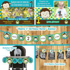 1st Year Baby Birthday Invitation Cards Mod Monkey Birthday Party Package Monkey Invitation Mod Monkey