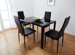 Designer Rectangle Black Glass Dining Table   Chairs Set - Black dining table for 4