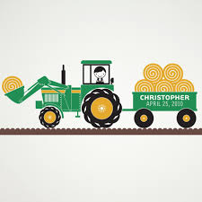 John Deere Kids Room Decor by Tractor Boy Wall Decal Personalized Name Hay Wagon Farm Theme